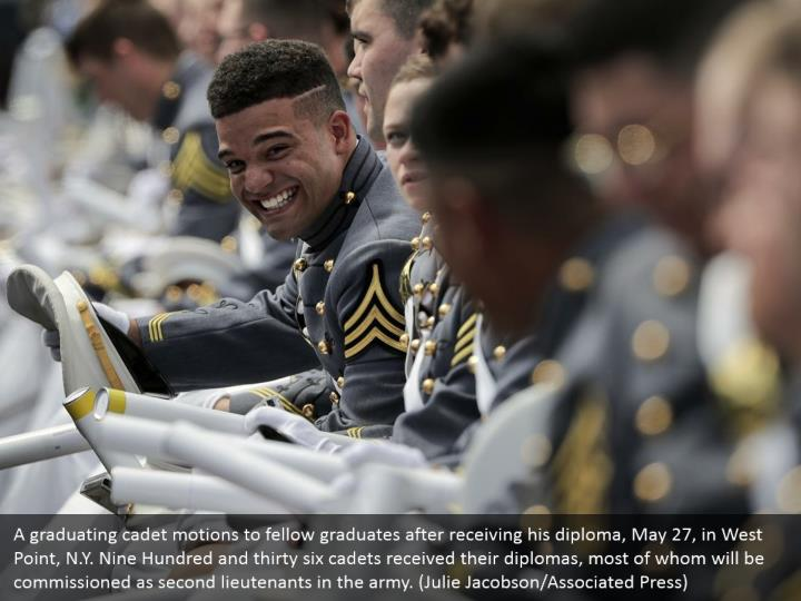 A graduating cadet motions to fellow graduates after receiving his diploma, May 27, in West Point, N.Y. Nine Hundred and thirty six cadets received their diplomas, most of whom will be commissioned as second lieutenants in the army. (Julie Jacobson/Associated Press)
