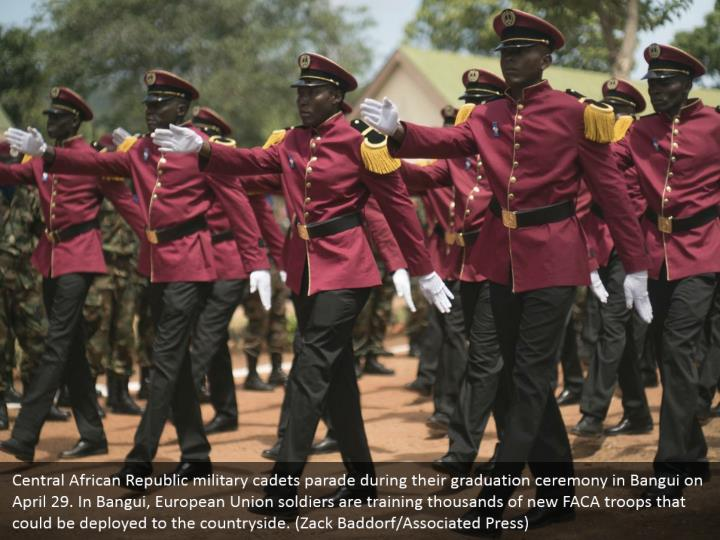 Central African Republic military cadets parade during their graduation ceremony in Bangui on April 29. In Bangui, European Union soldiers are training thousands of new FACA troops that could be deployed to the countryside. (Zack Baddorf/Associated Press)