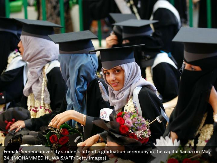 Female Yemeni university students attend a graduation ceremony in the capital Sanaa on May 24. (MOHAMMED HUWAIS/AFP/Getty Images)
