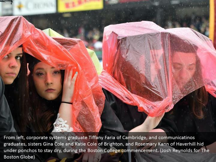 From left, corporate systems graduate Tiffany Faria of Cambridge, and communicatinos graduates, sisters Gina Cole and Katie Cole of Brighton, and Rosemary Kann of Haverhill hid under ponchos to stay dry, during the Boston College commencement. (Josh Reynolds for The Boston Globe)