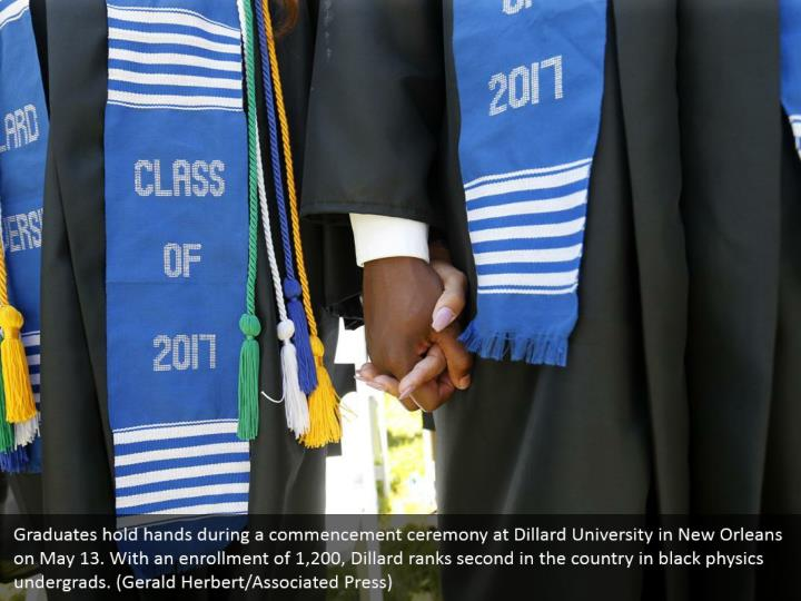 Graduates hold hands during a commencement ceremony at Dillard University in New Orleans on May 13. With an enrollment of 1,200, Dillard ranks second in the country in black physics undergrads. (Gerald Herbert/Associated Press)