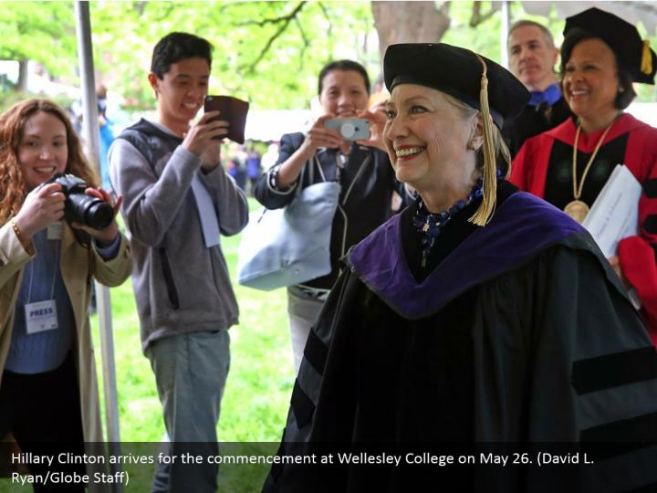 Hillary Clinton arrives for the commencement at Wellesley College on May 26. (David L. Ryan/Globe Staff)