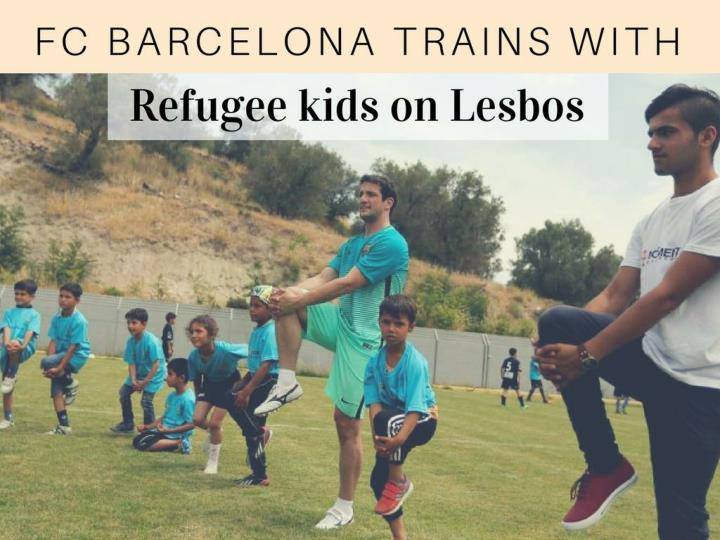 fc barcelona trains with refugee kids on lesbos n.