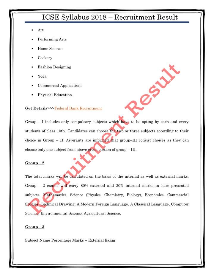 Ppt Icse Syllabus 2018 Download Class 10th Board Exam Syllabus Pdf