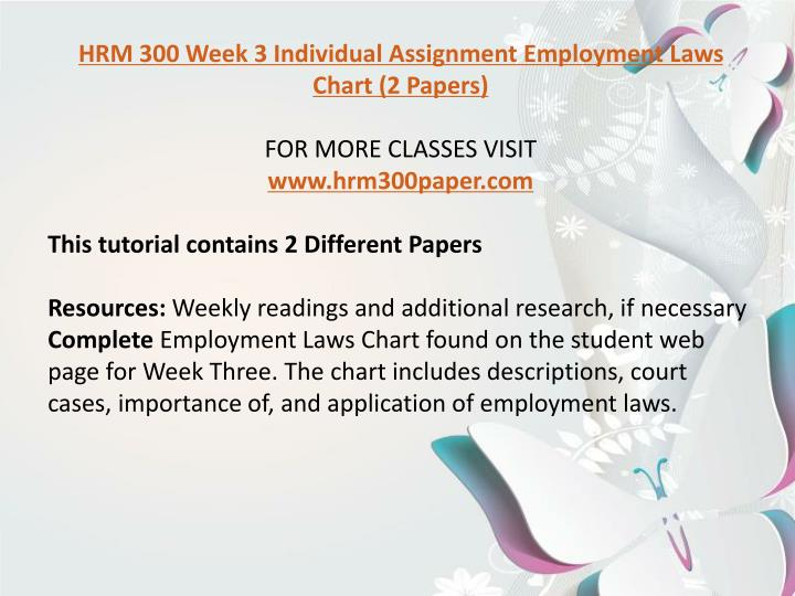 hrm 300 employment laws chart Hrm 300 hrm/300 hrm300 wk 3 team fundamentals of human resource management hrm300 hrm/300 hrm 300 week 3 individual assignment employment laws chart.