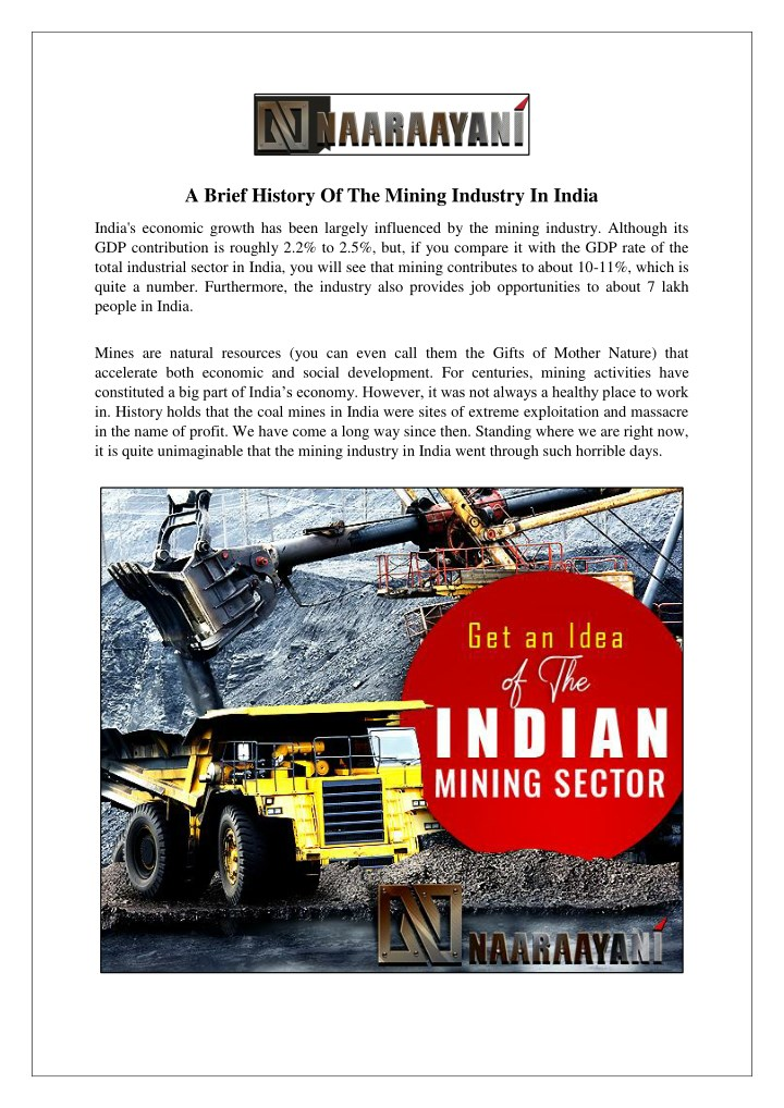 a brief history of the mining industry in india n.