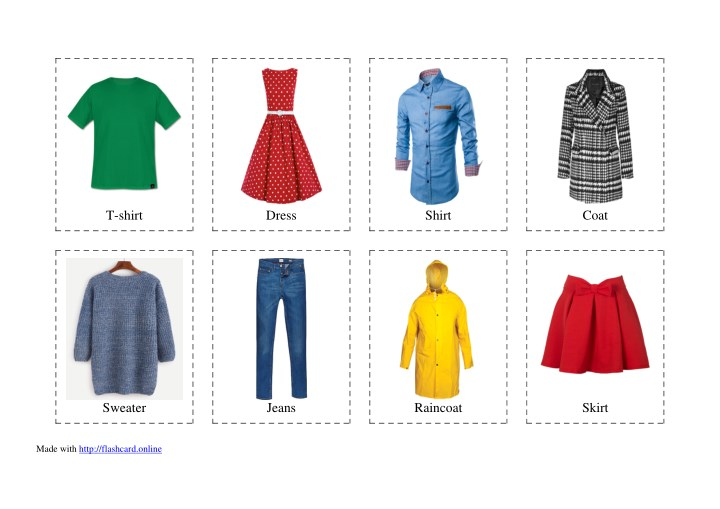 Clothes Sorting By Color ~ Ppt flashcards of clothes free printable powerpoint