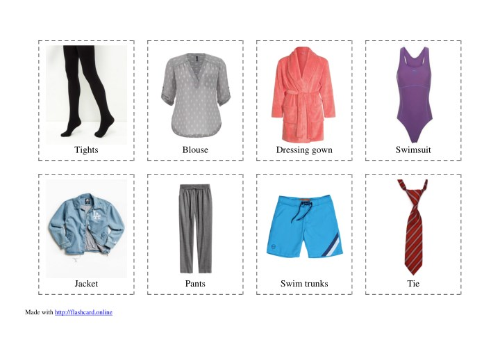 Ppt 40 Flashcards Of Clothes Free Printable Powerpoint