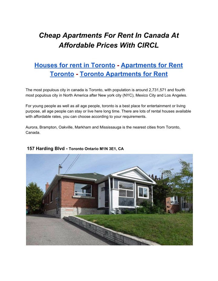 PPT - Cheap Apartments for rent in Canada, Toronto ...