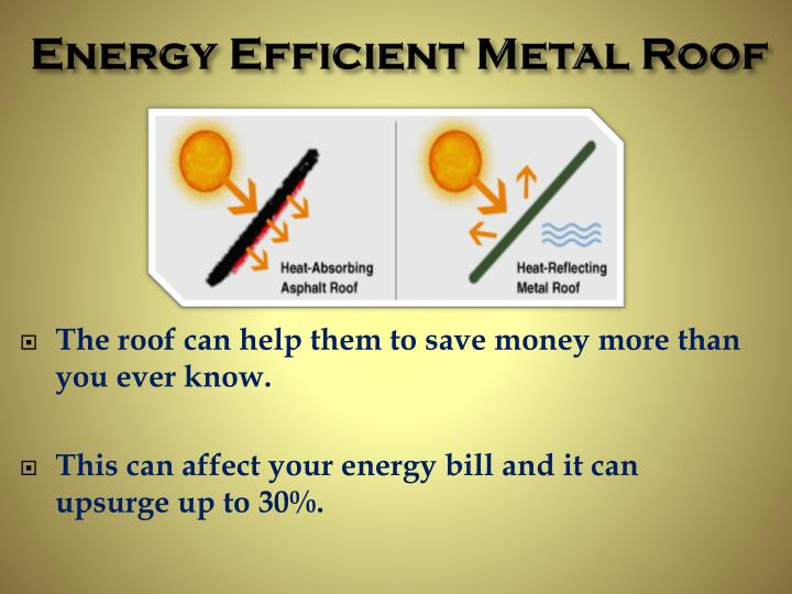 Ppt energy efficient metal roof alpha rain powerpoint for Energy efficient roofing