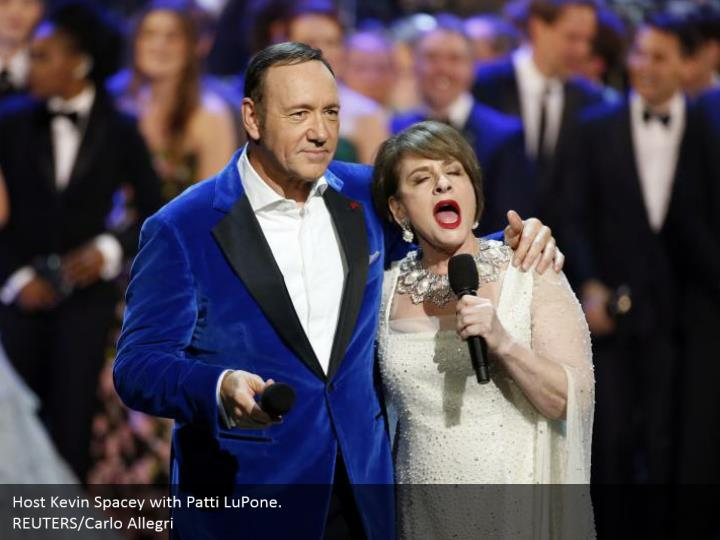 Host Kevin Spacey with Patti LuPone.  REUTERS/Carlo Allegri