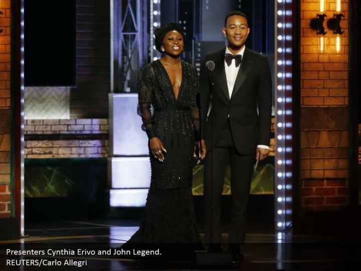 Presenters Cynthia Erivo and John Legend.  REUTERS/Carlo Allegri