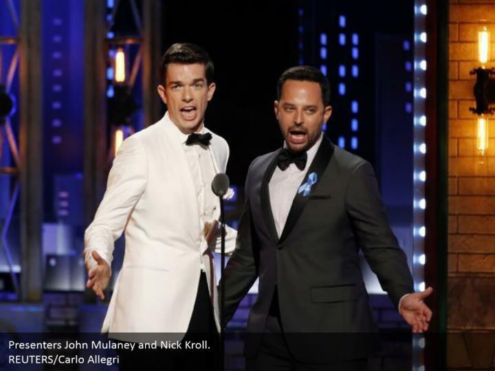 Presenters John Mulaney and Nick Kroll.  REUTERS/Carlo Allegri