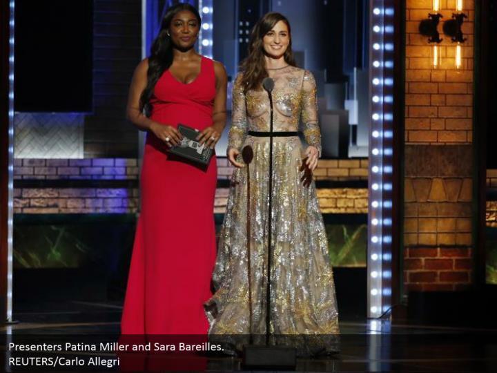 Presenters Patina Miller and Sara Bareilles.  REUTERS/Carlo Allegri