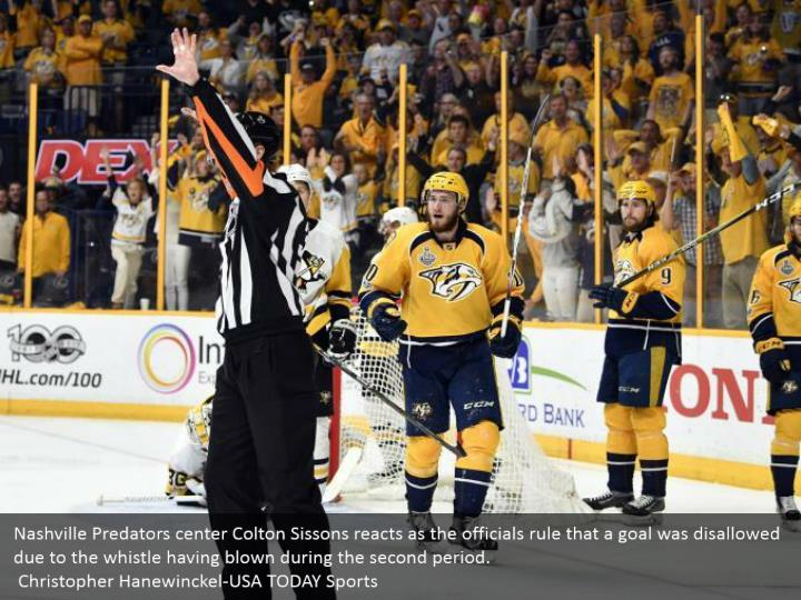 Nashville Predators center Colton Sissons reacts as the officials rule that a goal was disallowed due to the whistle having blown during the second period.  Christopher Hanewinckel-USA TODAY Sports