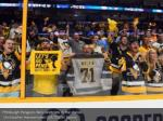 pittsburgh penguins fans celebrate in the stands