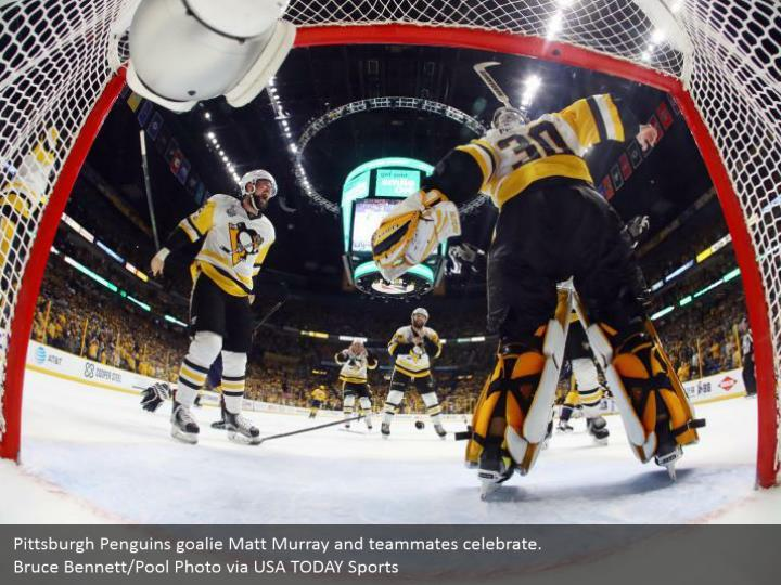 Pittsburgh Penguins goalie Matt Murray and teammates celebrate.  Bruce Bennett/Pool Photo via USA TODAY Sports