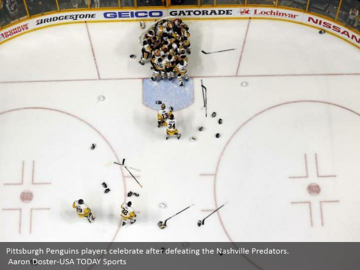 Pittsburgh penguins players celebrate after