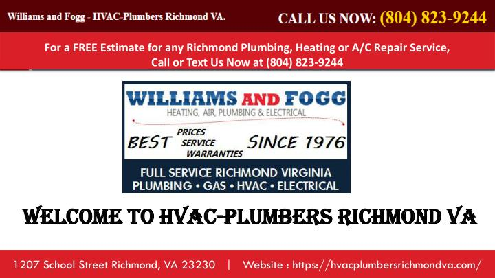 for a free estimate for any richmond plumbing n.