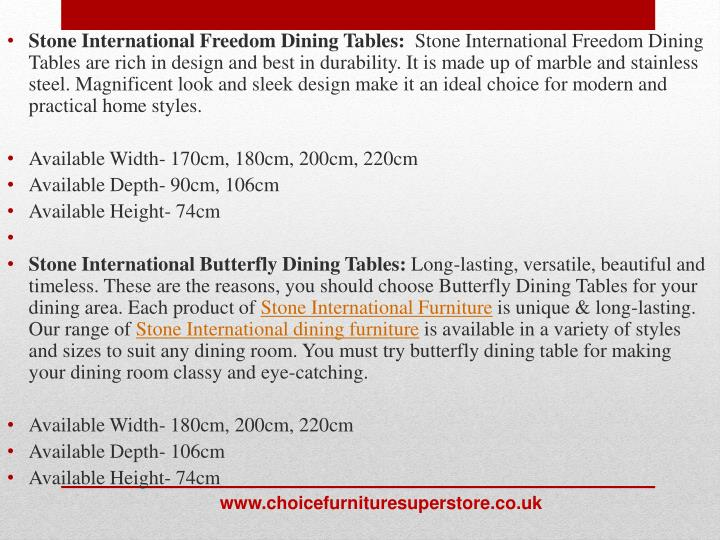 Stone International Freedom Dining Tables: