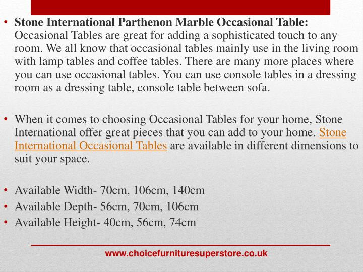 Stone International Parthenon Marble Occasional Table: