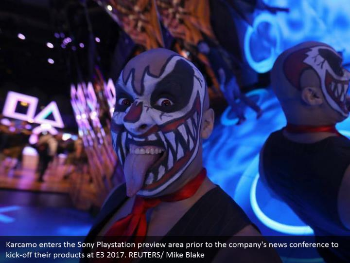 Karcamo enters the Sony Playstation preview area prior to the company's news conference to kick-off their products at E3 2017. REUTERS/ Mike Blake
