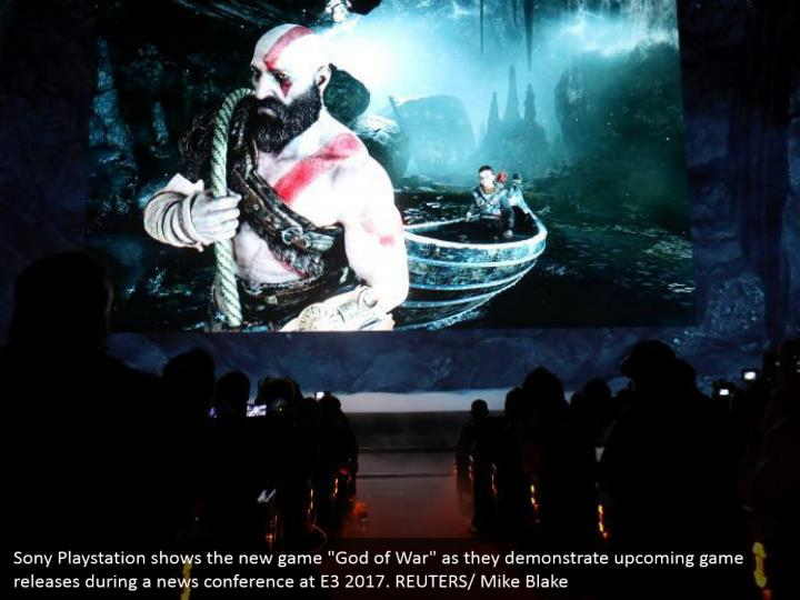 "Sony Playstation shows the new game ""God of War"" as they demonstrate upcoming game releases during a news conference at E3 2017. REUTERS/ Mike Blake"