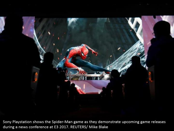 Sony Playstation shows the Spider-Man game as they demonstrate upcoming game releases during a news conference at E3 2017. REUTERS/ Mike Blake