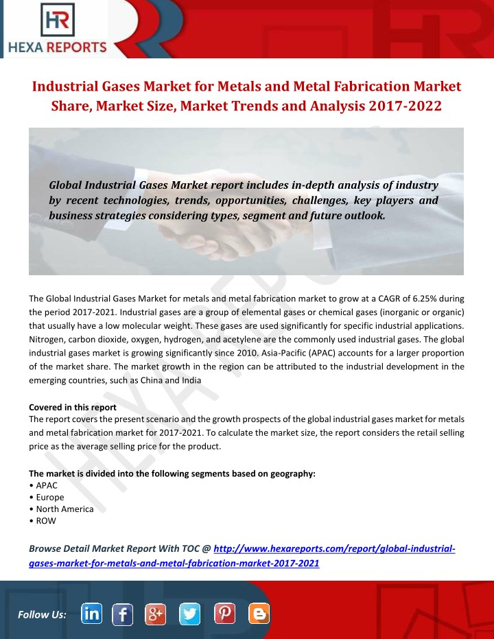 PPT - Industrial Gases Market for Metals and Metal