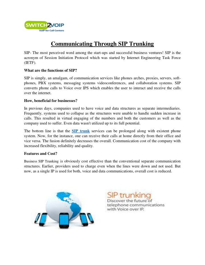 what is sip trunking presentation