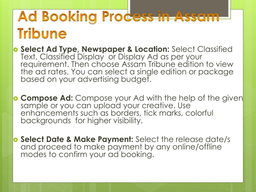 PPT - Assam Tribune Advertisement Booking Online  PowerPoint