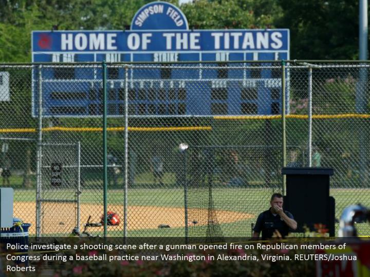 Police investigate a shooting scene after a gunman opened fire on Republican members of Congress during a baseball practice near Washington in Alexandria, Virginia. REUTERS/Joshua Roberts