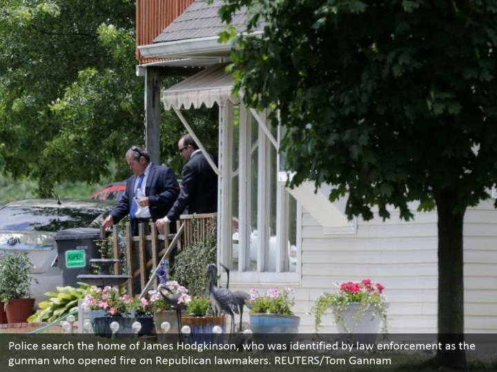 Police search the home of James Hodgkinson, who was identified by law enforcement as the gunman who opened fire on Republican lawmakers. REUTERS/Tom Gannam