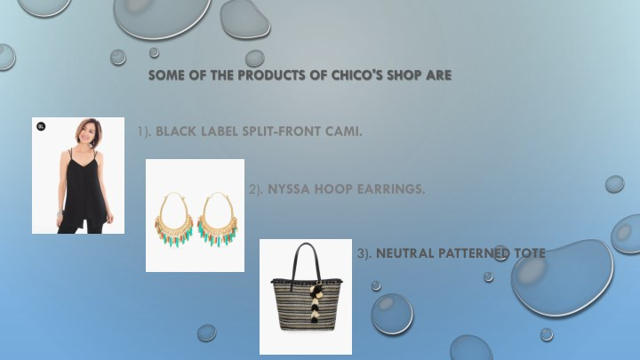 SOME OF THE PRODUCTS OF CHICO'S SHOP ARE