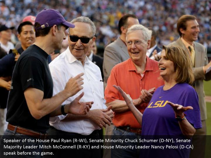 Speaker of the House Paul Ryan (R-WI), Senate Minority Chuck Schumer (D-NY), Senate Majority Leader Mitch McConnell (R-KY) and House Minority Leader Nancy Pelosi (D-CA) speak before the game.