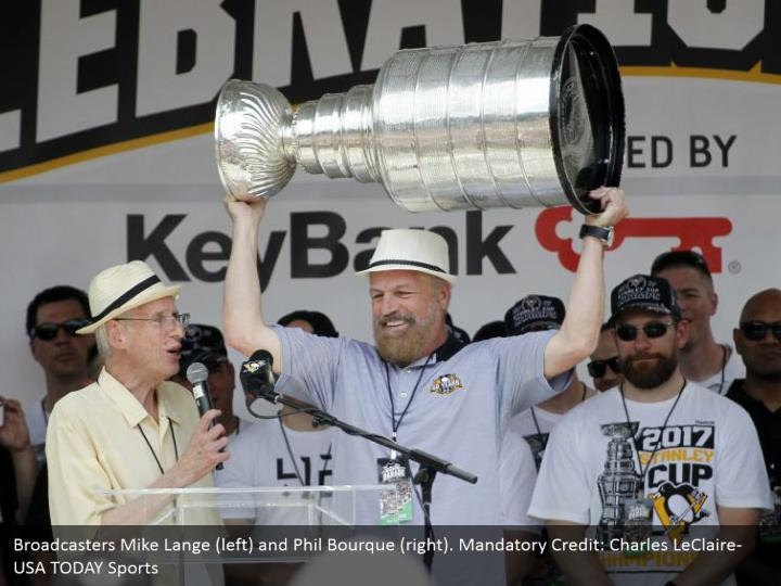 Broadcasters Mike Lange (left) and Phil Bourque (right). Mandatory Credit: Charles LeClaire-USA TODAY Sports