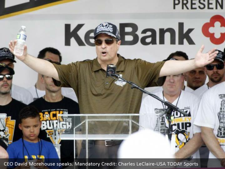 CEO David Morehouse speaks. Mandatory Credit: Charles LeClaire-USA TODAY Sports