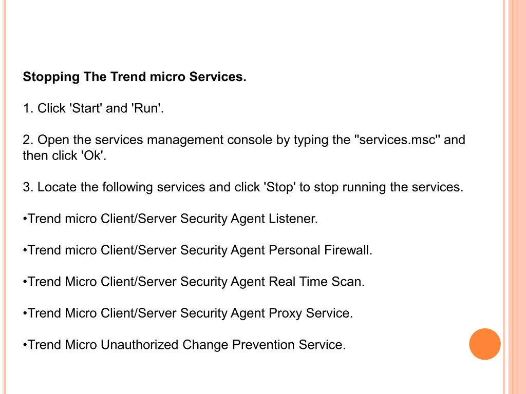 PPT - How to uninstall The Trend Micro Server Client