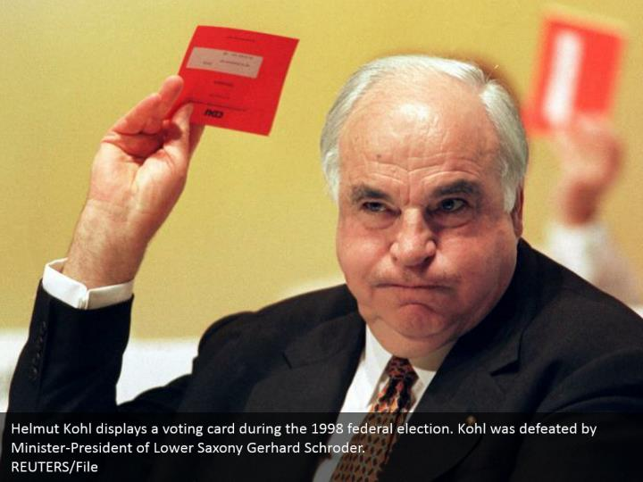 Helmut Kohl displays a voting card during the 1998 federal election. Kohl was defeated by Minister-President of Lower Saxony Gerhard Schroder.  REUTERS/File