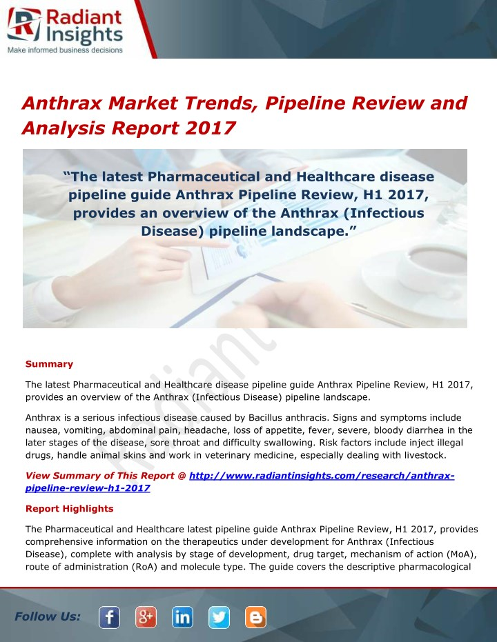 anthrax market trends pipeline review n.