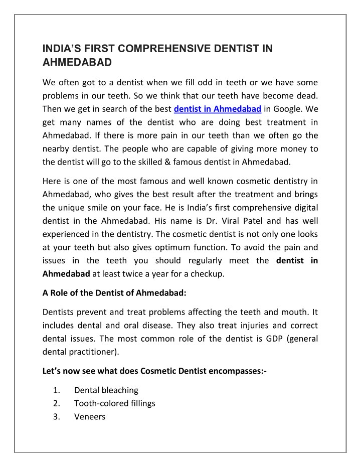 india s first comprehensive dentist in ahmedabad n.