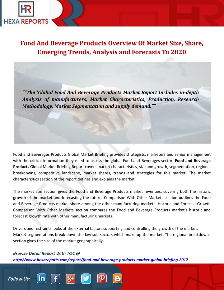 PPT - Food and beverage products overview of market size
