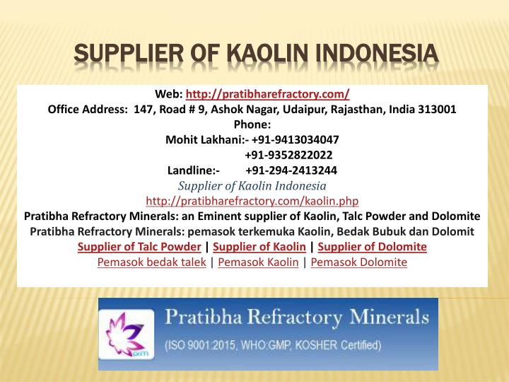 supplier of kaolin indonesia n.