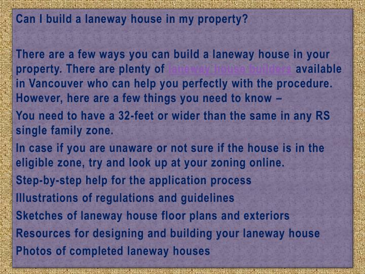 Ppt building a laneway house things you need to know for I want to build my house