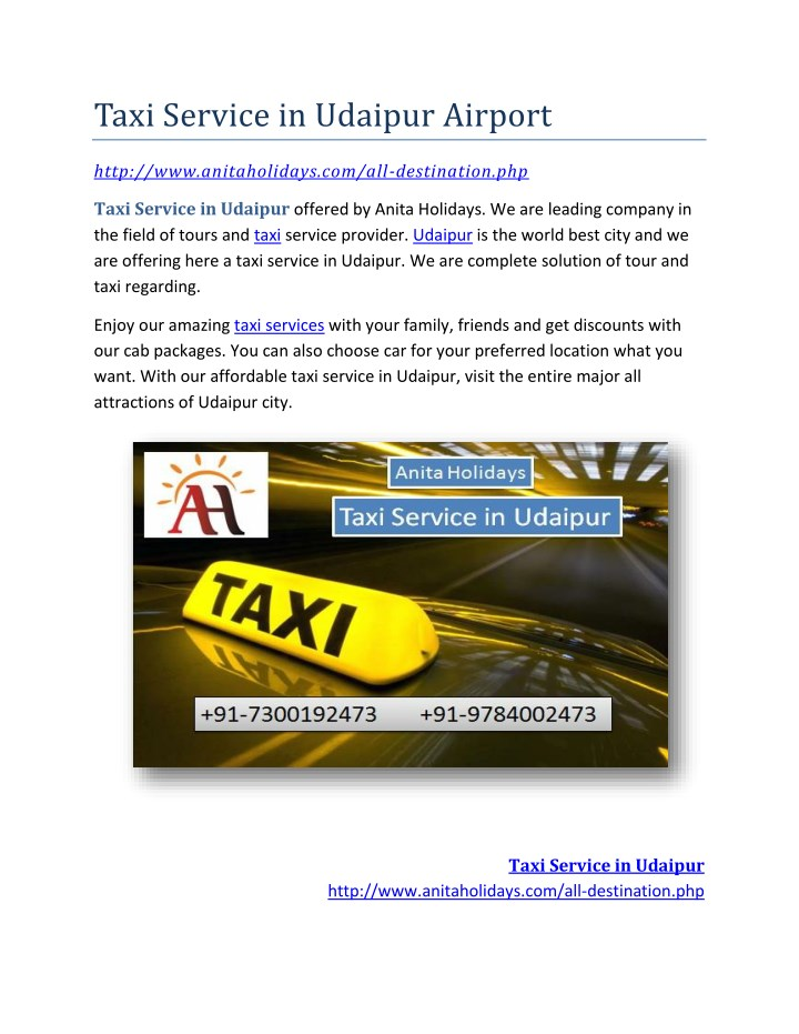 taxi service in udaipur airport n.