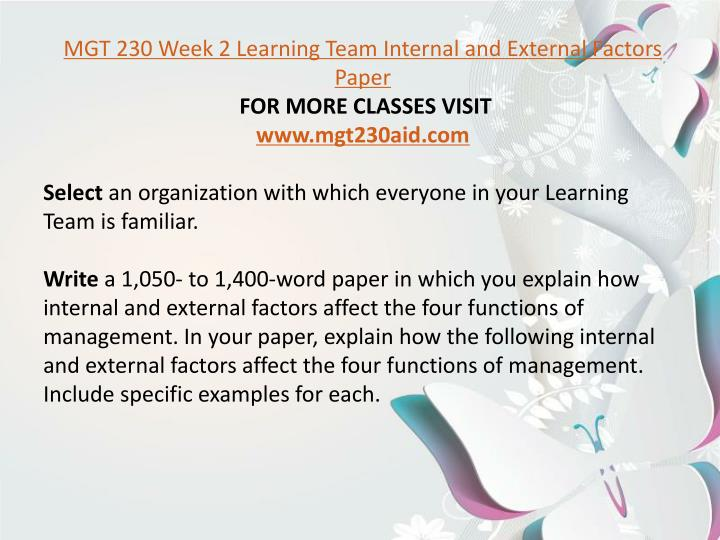 mgt 230 week 5 learning team summary Posts about mgt 230 week 2 assignment written mgt 230 week 5 learning team assignment management and submit your team summary of the discussion in a 1.