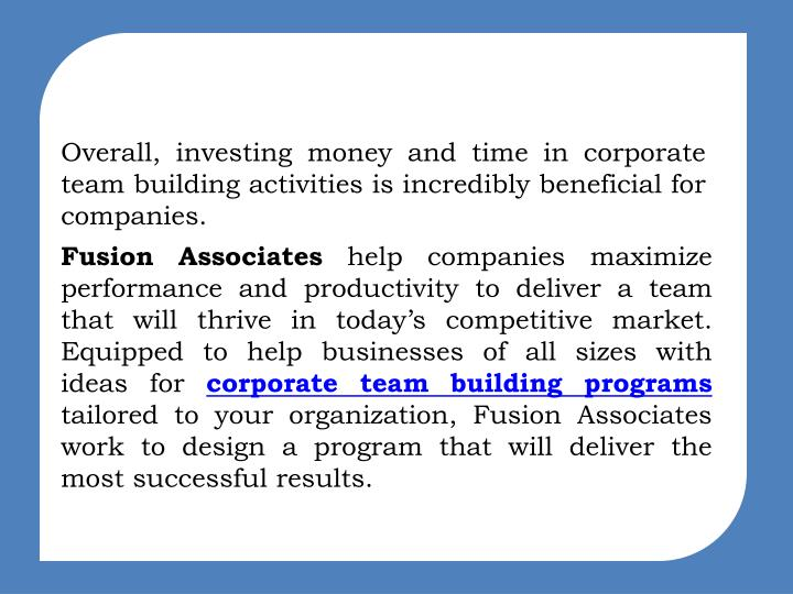 Ppt Corporate Team Building Programs Targeting Team Success