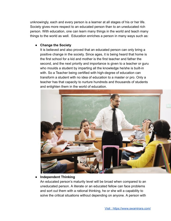 essay on importance of education for kids
