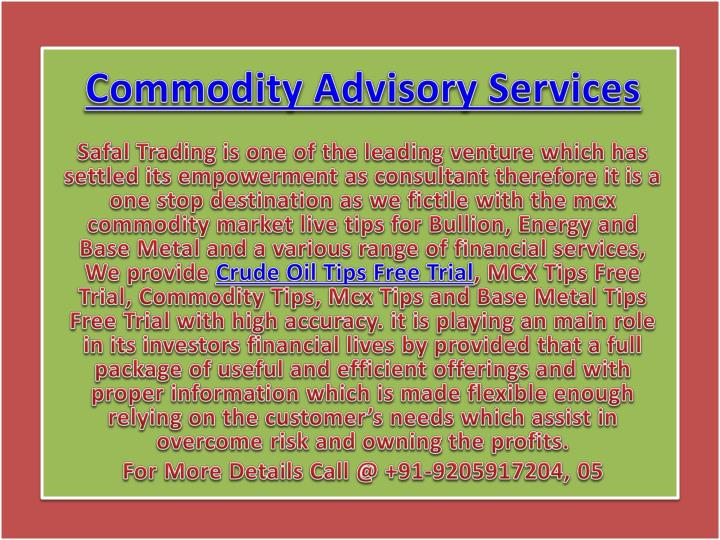 commodity advisory services n.