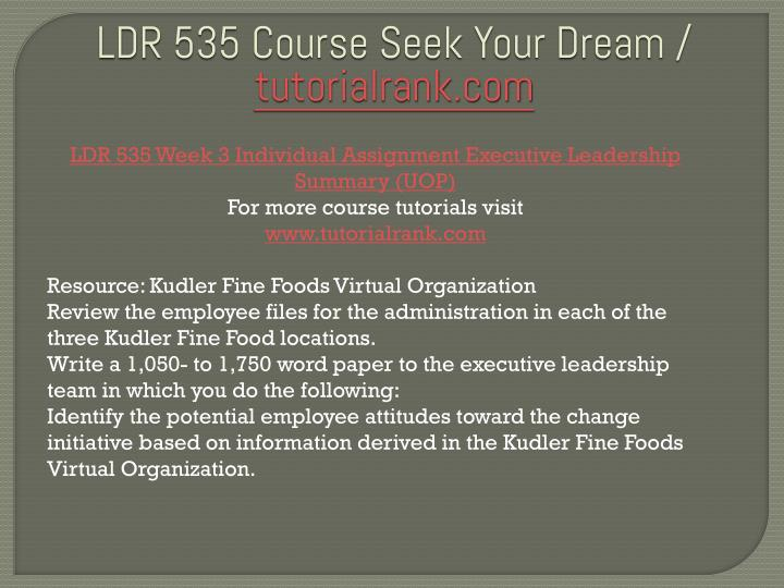 ldr 535 Leadership theories ldr/535 version 1 university of phoenix material leadership theories complete the university of phoenix material: leadership theories with the following information: identify five leadership theories.